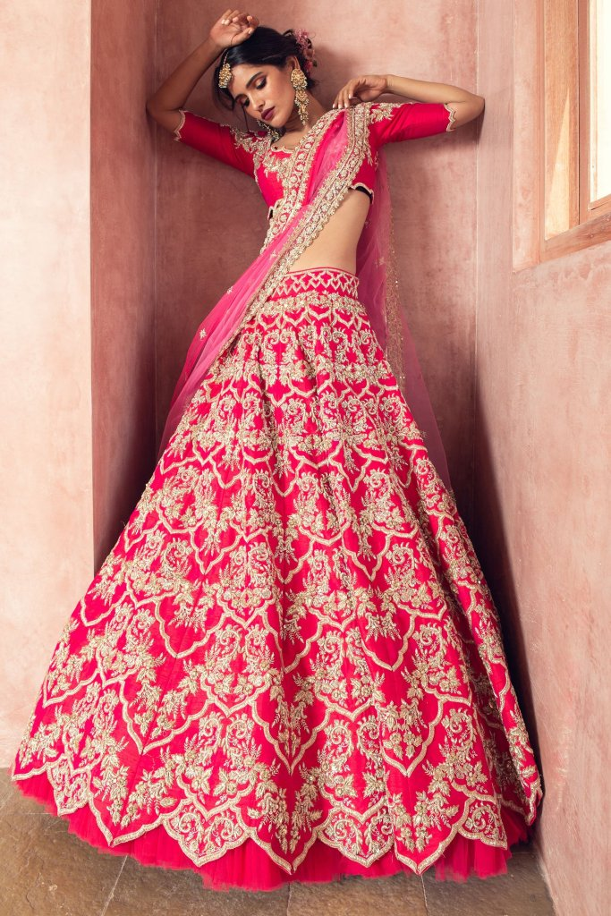 Pink Zardozi Raw Silk Wedding Lehenga