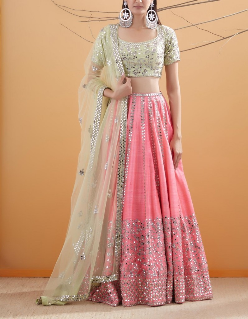 Pink with Mint Sequin and Mirror Embroidered Lehenga