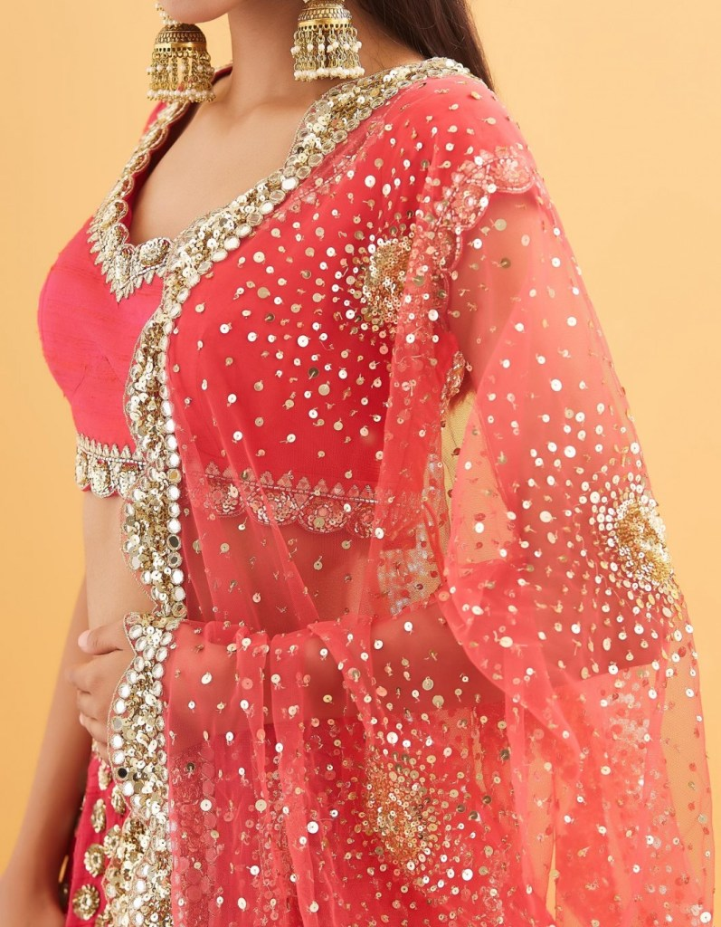 Dual Tone Red with Pink Heavily Embroidered Lehenga