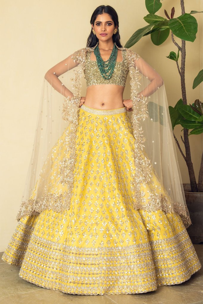 Yellow Embroidered Bridal Lehenga