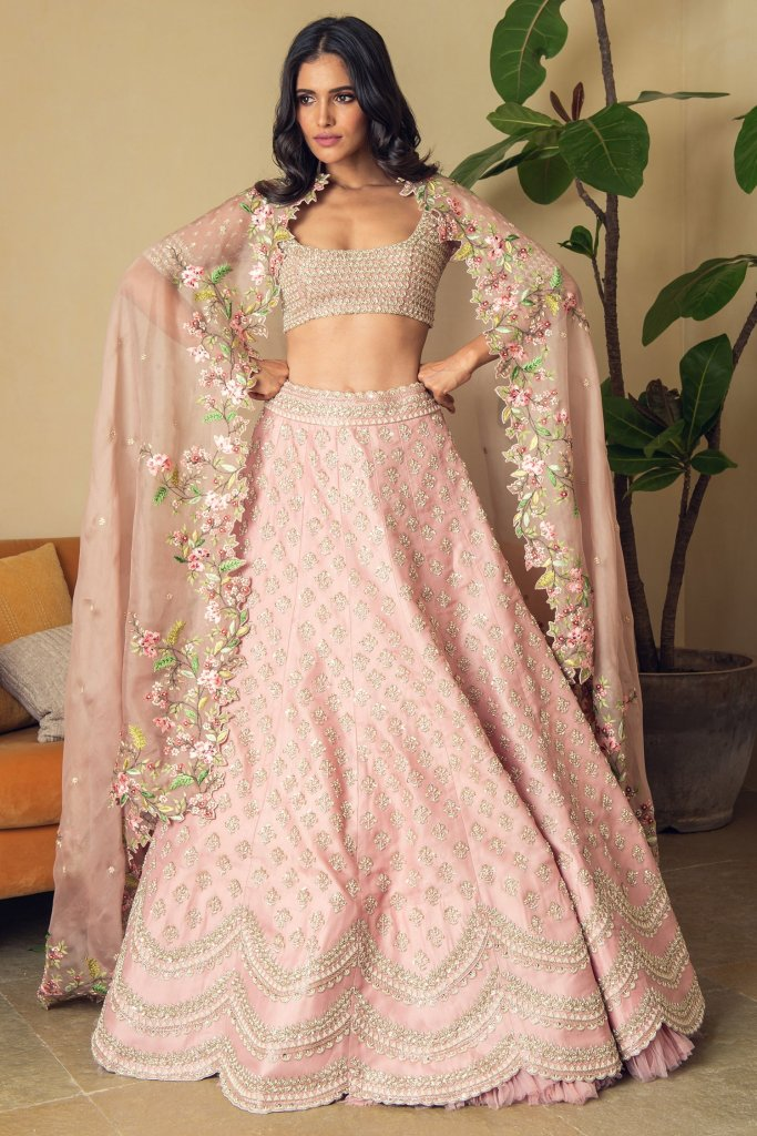 Light Pink Embroidered Bridal Lehenga