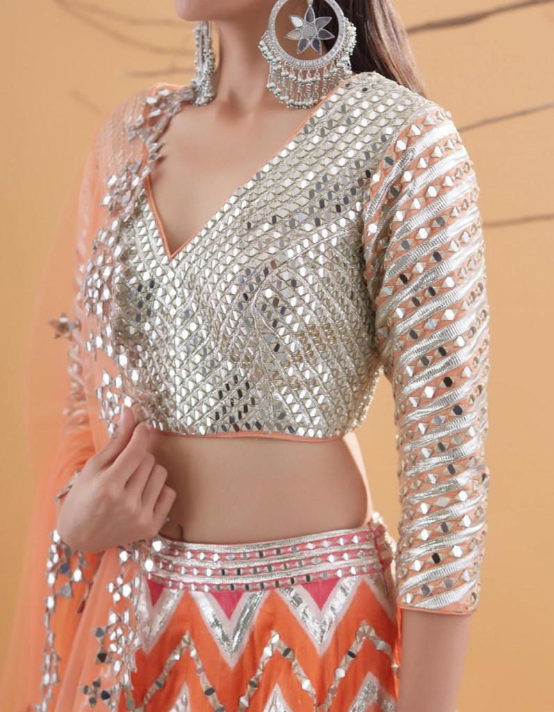 Tri Color Sequin and Mirror Embroidered Lehenga