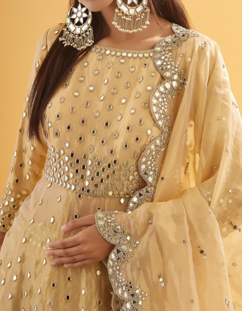 Golden Sequin and Mirror Embroidered Peplum  Lehenga
