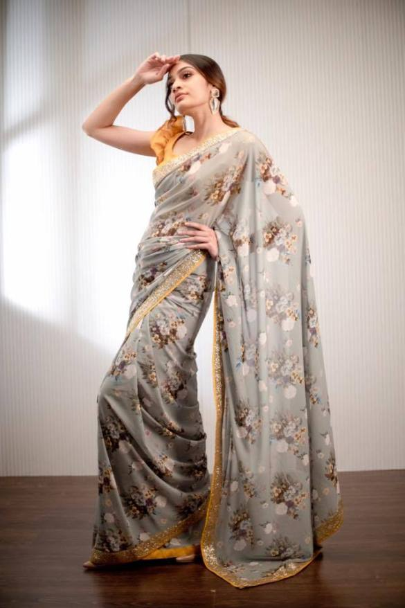 Floral Printed Grey Georgette Saree