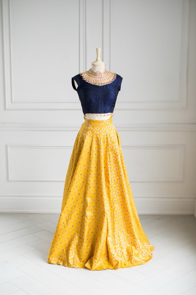 Yellow Brocade Lehenga Skirt