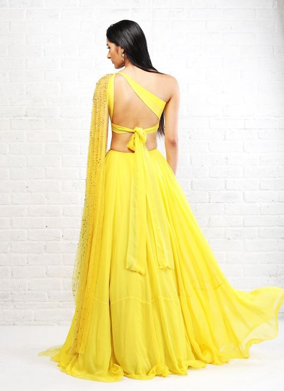 Yellow Cut Out Anarkali Dupatta