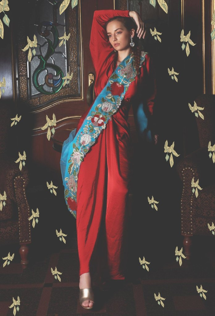 Red Blouse & Pants With Draped Dupatta