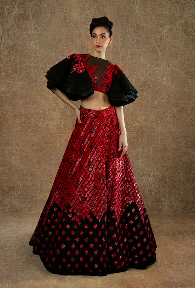 Black Red Sequins Lehenga