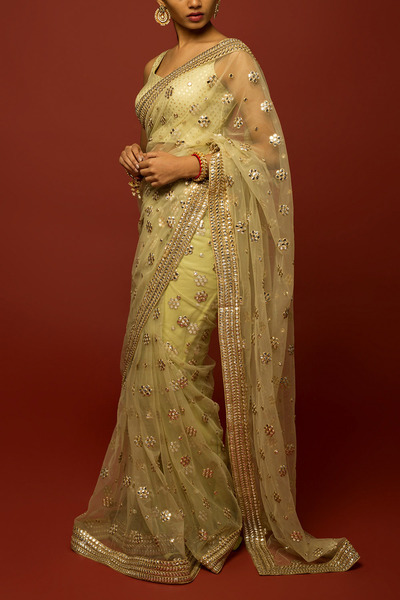 Jade Gota Patti Chanderi Saree