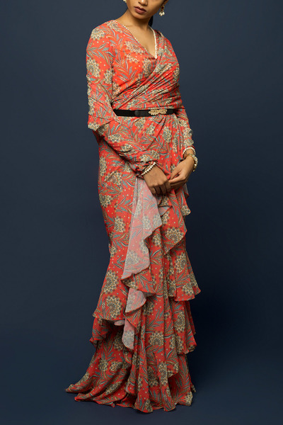 Poppy Red Paisley Ruffles & Tiers Saree