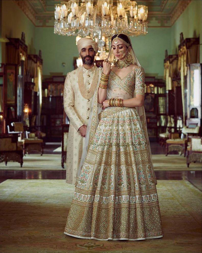 Couple coordinated sherwani lehenga
