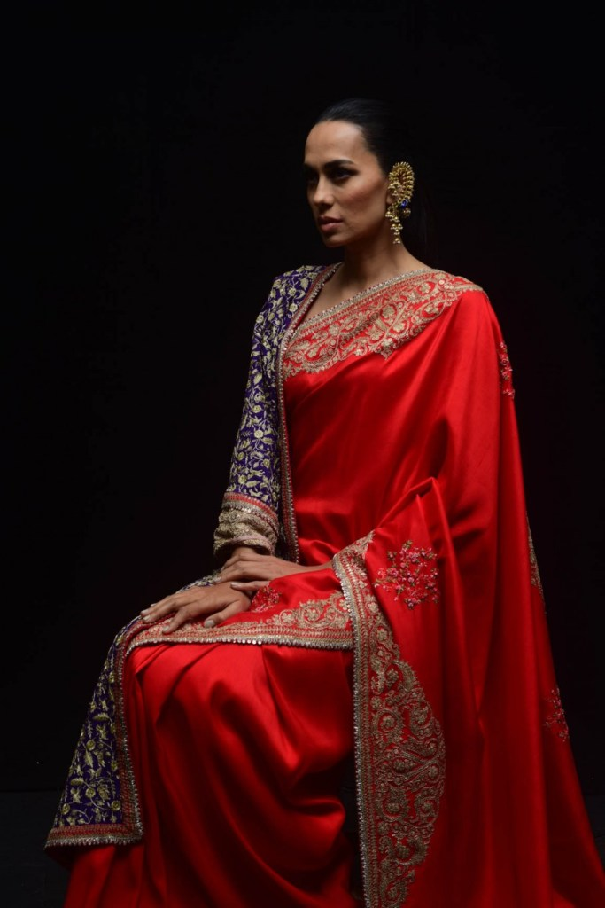 Anamika Khanna Red Saree
