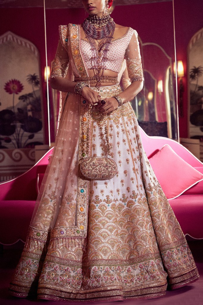 Tarun Tahiliani Light Pink Embroidered Bridal Lehenga
