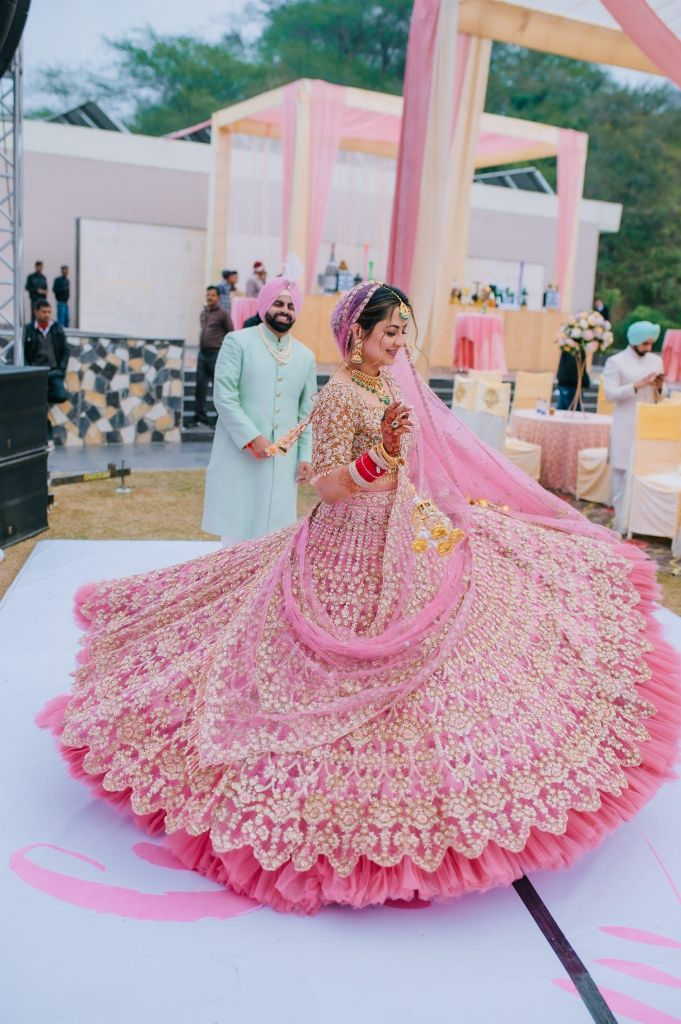 Baby pink wedding outfit