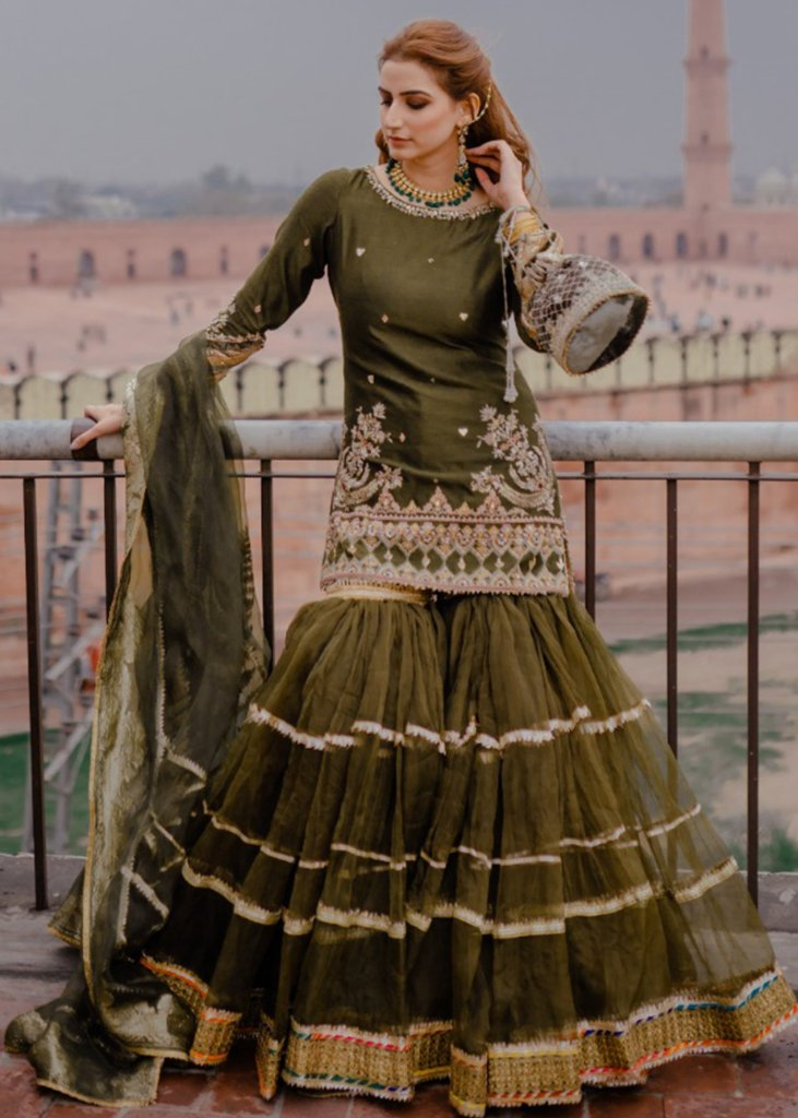 Dull Fern Green Pakistani Gharara