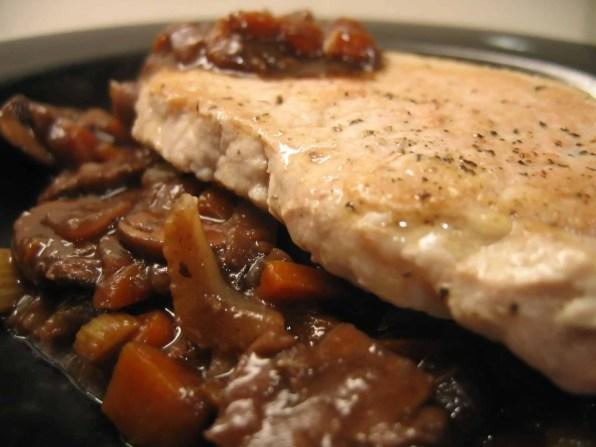Pork chop and pan sauce