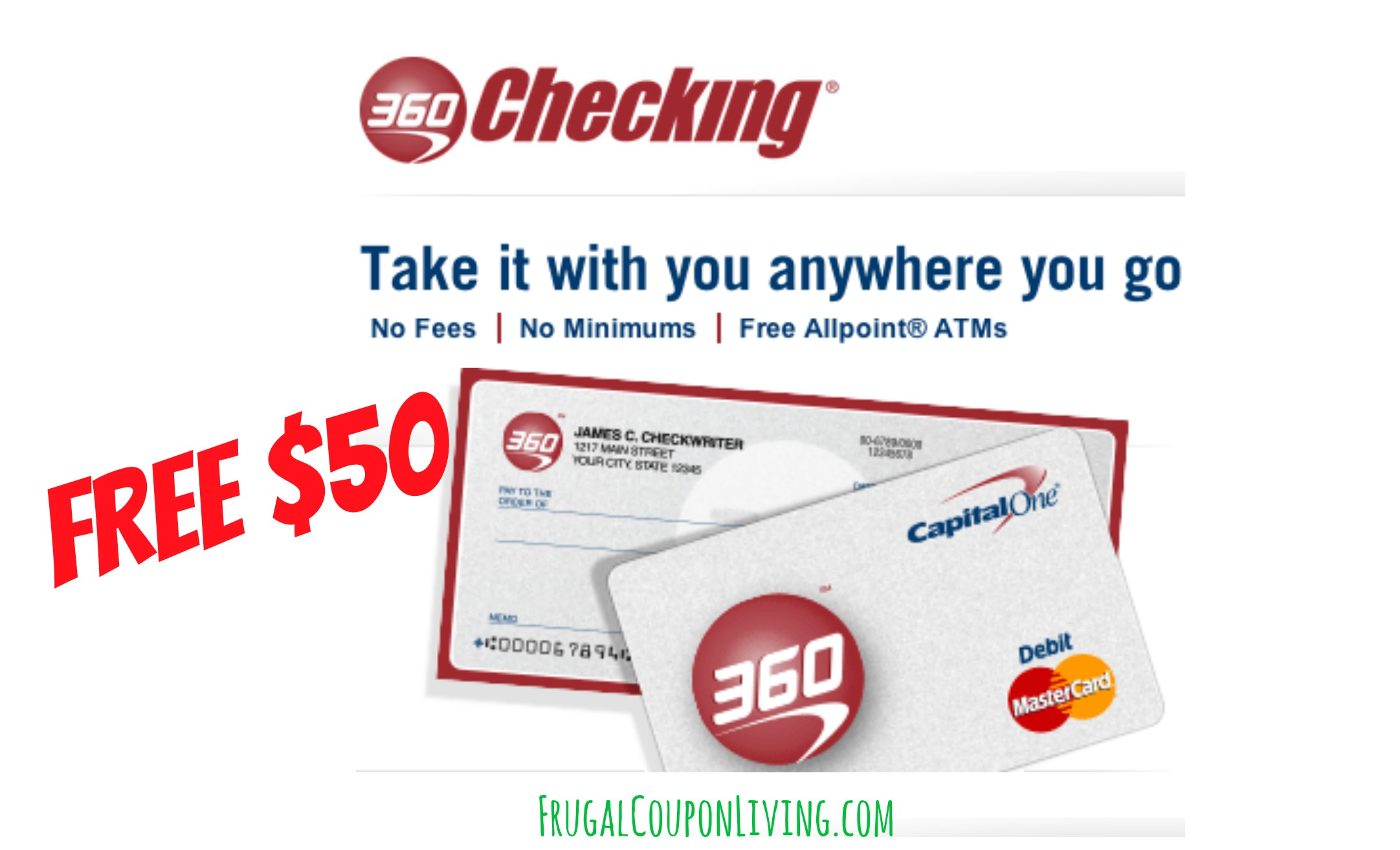 50 Cash Back with 360 Checking from Capital One