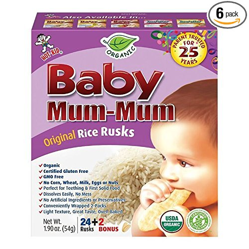 Amazon: GREAT PRICE – 6 pack Baby Mum-Mum Rice Rusks, 24 + 2 Pieces, ORGANIC Only: $14.51