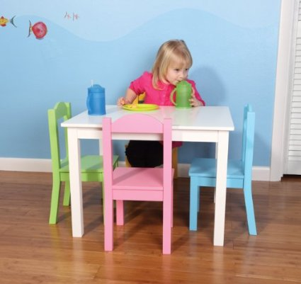 Cutest wooden table & Chair set! Tot Tutors Kids' Table & 4 Chair Set – only $62!