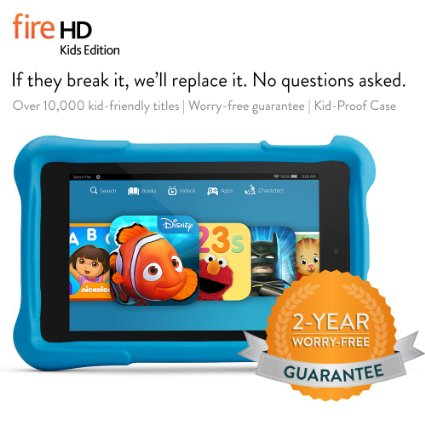 $50 OFF!!! Fire HD 6 Kids Edition Tablet, 6″ HD, Wi-Fi, 8 GB, Blue Kid-Proof Case