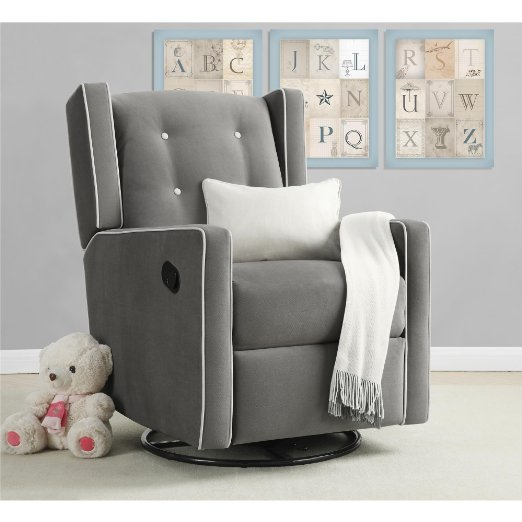LOWEST Price! $100+ off! Baby Relax Mikayla Upholstered Swivel Gliding Recliner, Gray!