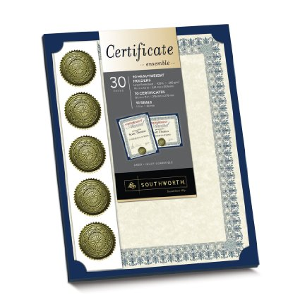 20% off Team Certificates! Southworth Certificate Kit Ensemble, 30 Pieces  – only $4!!!