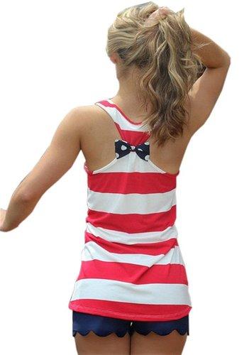 Women's Fashion Stripe Tank Top Back Bowknot  – ALL Sizes between $4.99-$5.04 + FREE Shipping!