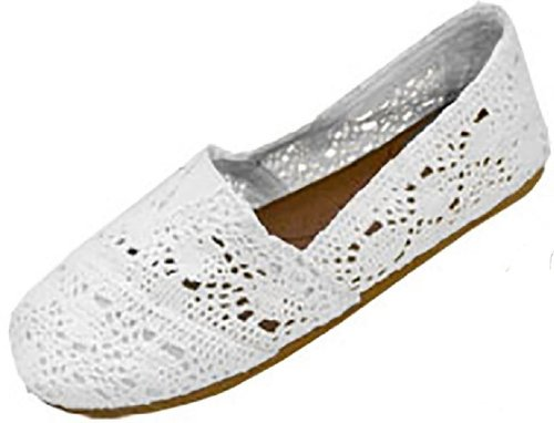 Womens Canvas Crochet Slip on Shoes Flats – TONS of sizes b/w $5.99-$7.99!