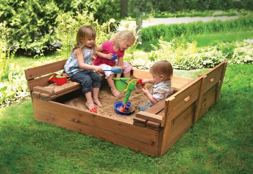 BEST PRICE: Covered Convertible Cedar Sandbox with Two Bench Seats  Only $95.99 (reg. $139.99)!!