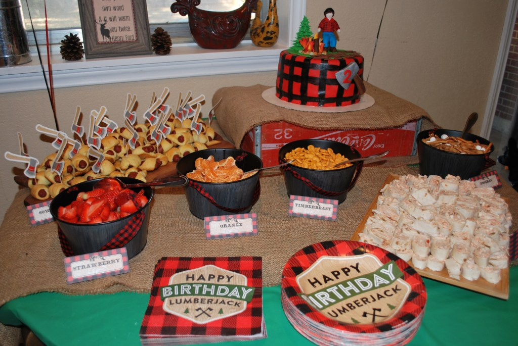 Lumberjack party food, Themed Birthday Party Food, Party Food, Appetizers, Target Dollar Spot Buckets