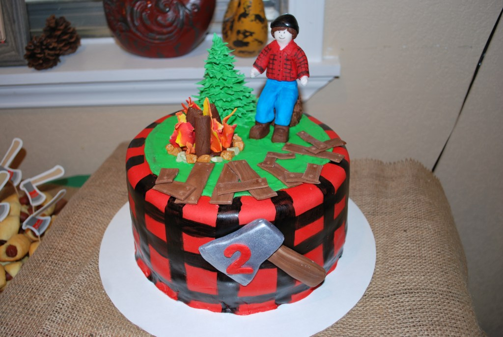 Lumberjack Cake, Birthday Cake, 2nd Birthday, Second Birthday Party, Themed Birthday Party, Lumberjack Party