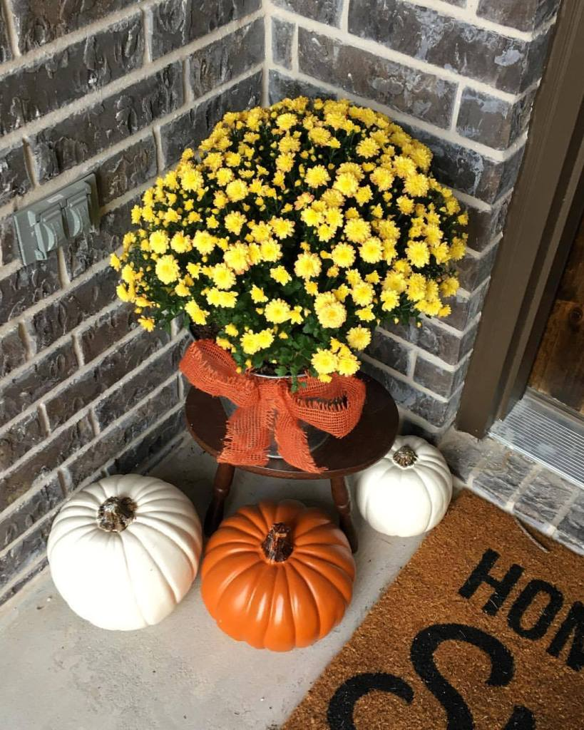 Fall Home Tour, Simple Fall Decor, Fall Mums, Faux Pumpkins, Front Porch Decor