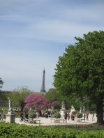 view of Eiffel Tower from the Tuileries gardens in the spring