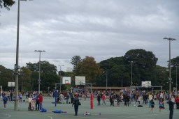 netball courts with girls playing netball