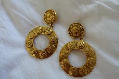 Pair of chunky gold Chanel hoop earrings