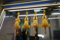 four corn fed chickens hanging in the Athens meat market