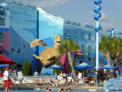 Finding Nemo characters at pool at Disney World Art of Animation resort - A Frugal Mom's Guide To Disney - 10 Ways To Save At Disney
