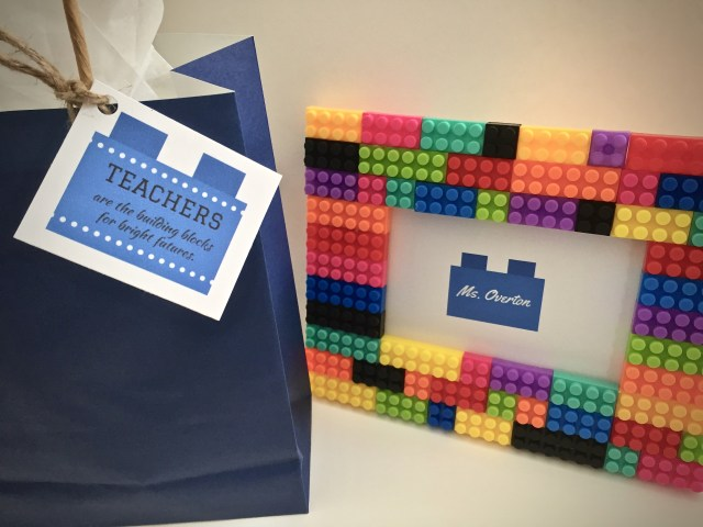 """Lego frame and gift bag with gift tag that reads """" Teachers are the building blocks for bright futures"""" - 7 Teacher Gifts With Printable Gift Tags"""