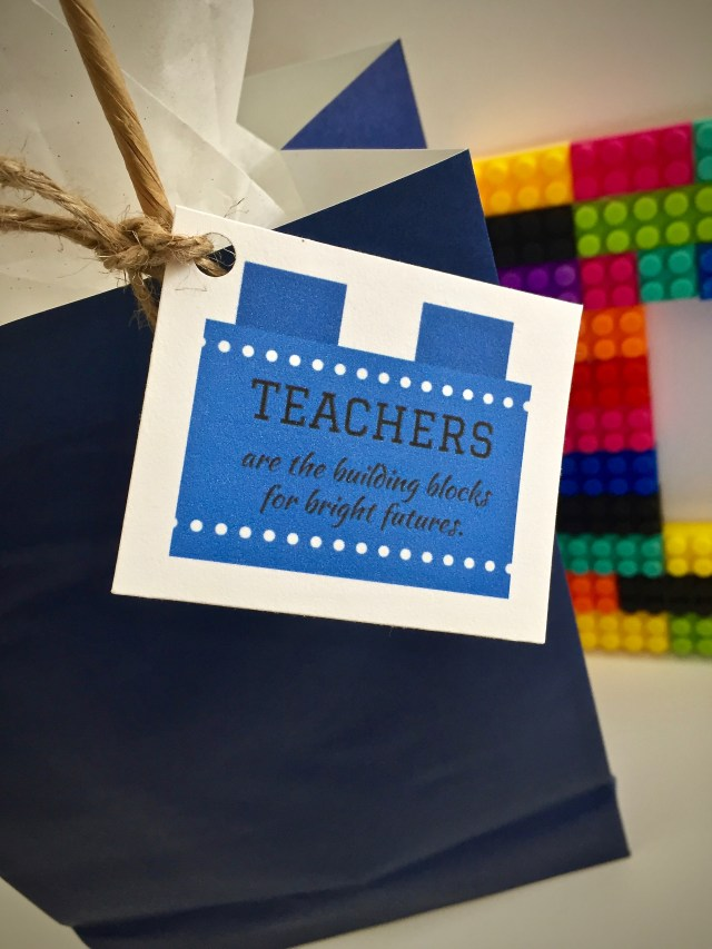 """Gift Tag reads """"Teachers Are The Building Blocks For Bright Futures"""" - 7 Teacher Gifts With Printable Gift Tags"""