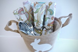 Easter basket home decor on clearance after the holiday can be used to hold cutlery and napkin rings - 10 Things To Do With After-Easter Clearance Items