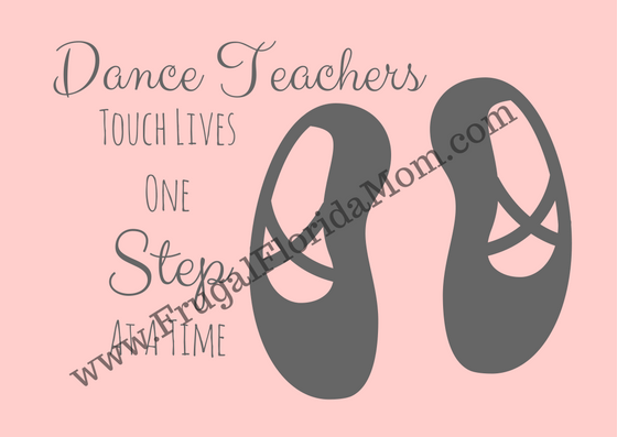 "Dance teacher gift tag that reads ""Dance teachers touch lives one step at a time"" - Tutu-riffic Gifts For Dancers & Dance Teachers With Printable Gift Tags"