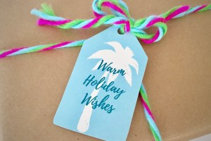 Warm Holiday Wishes Christmas gift tag with palm tree - Coastal Christmas Free Printable Gift Tags