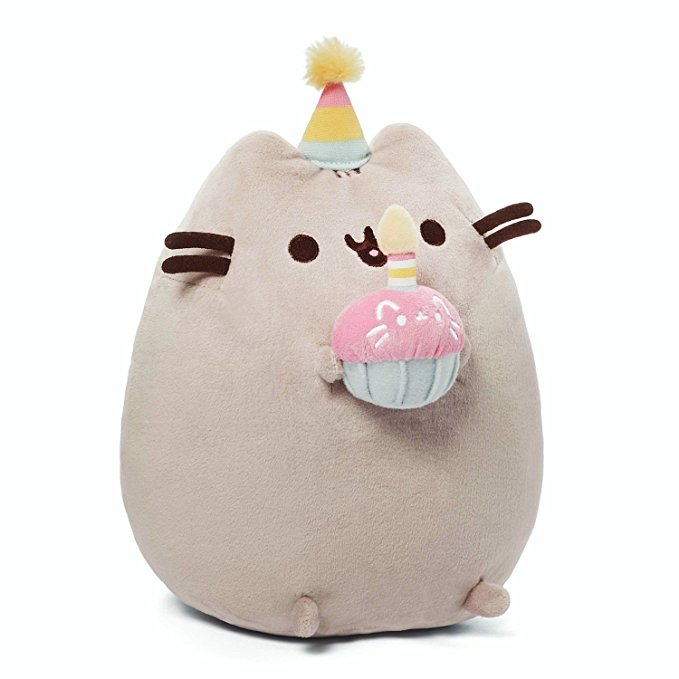Pusheen plush with birthday cupcake - Pusheen Gift Guide
