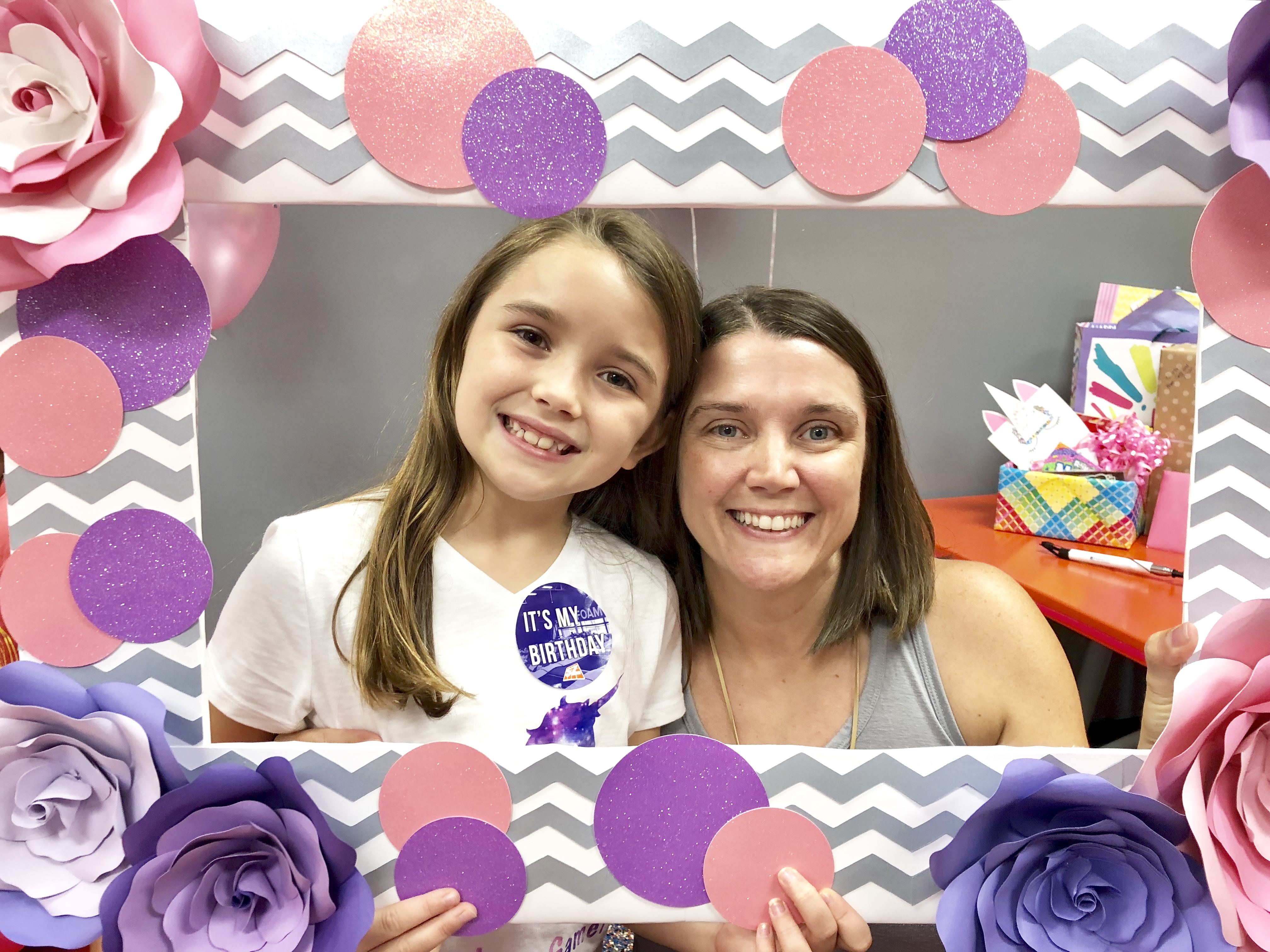 Posing with DIY photo frame - Pretty Pusheen & Cupcake Party Ideas