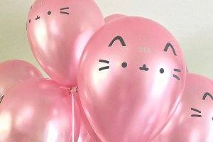 Pusheen face balloons - Pretty Pusheen & Cupcake Party Ideas