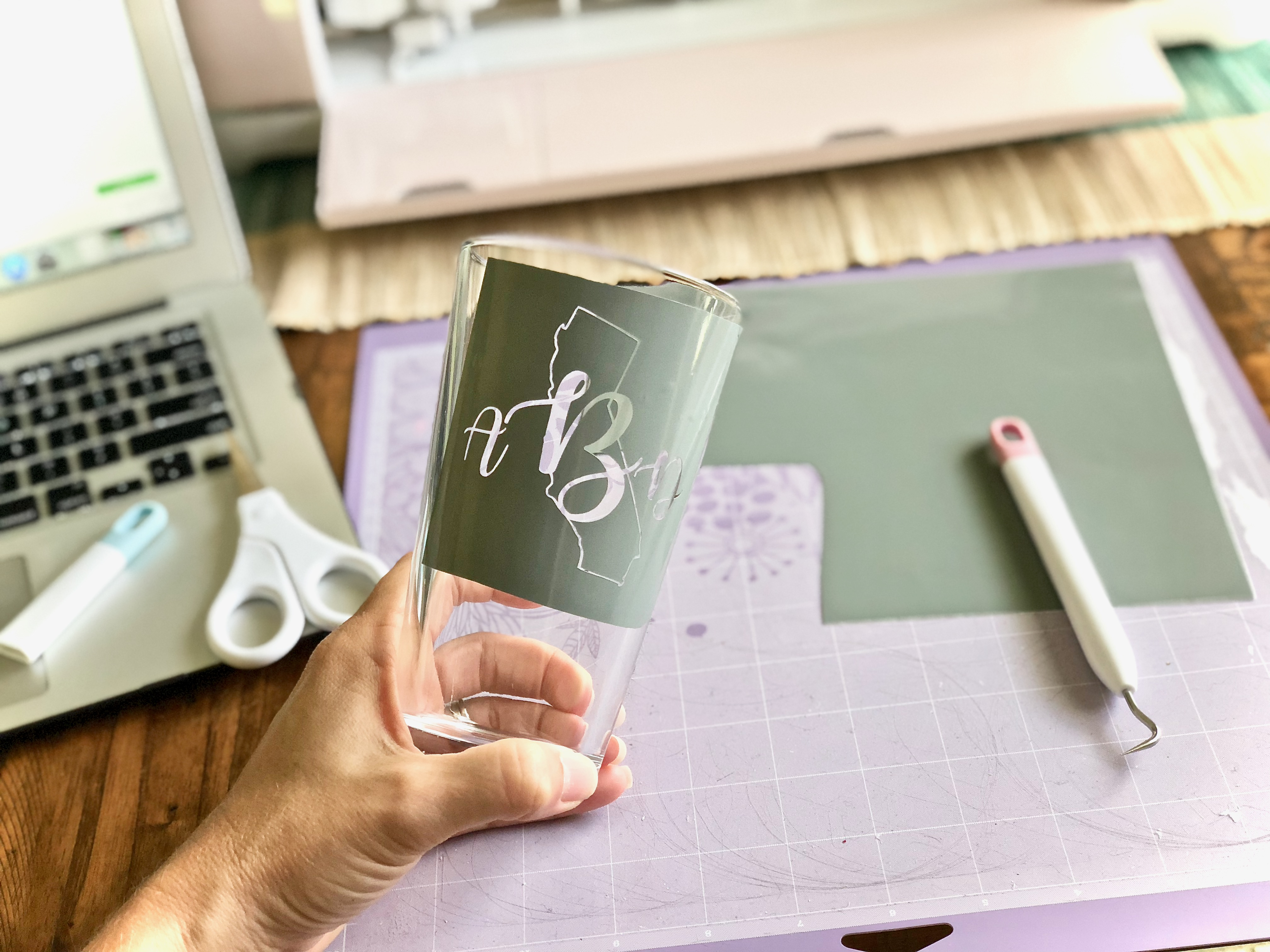 Cricut vinyl design used for glass etching - Glass Etching With Your Cricut Or Silhouette