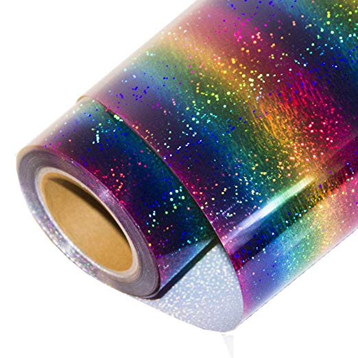 Rainbow holographic heat transfer vinyl - Ultimate Cricut Crafters Gift Guide