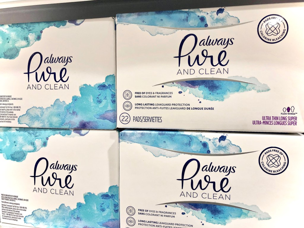 Always Pure and Clean pads on store shelf - Honest To Goodness Essentials - Plant-Based And Nature Inspired Products On Sale At Publix