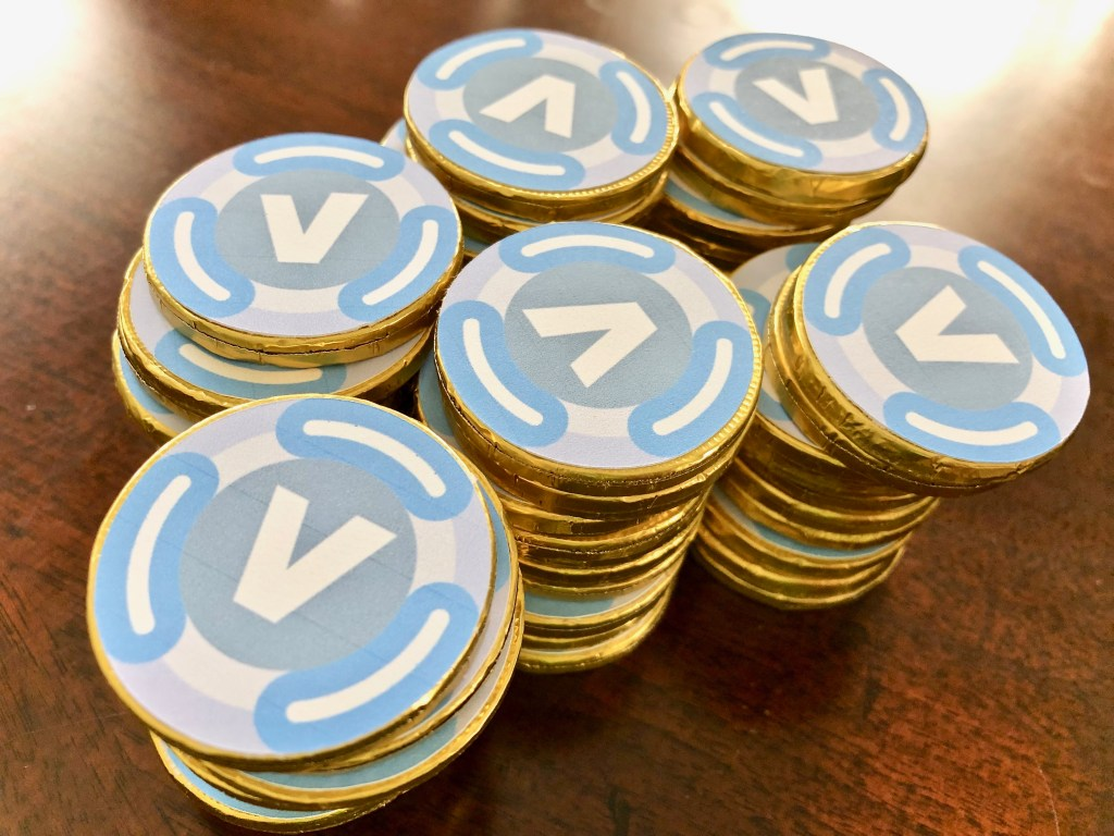 Fortnite V Buck chocolate coins DIY party treat - Fortnite Birthday Party Ideas & Printables