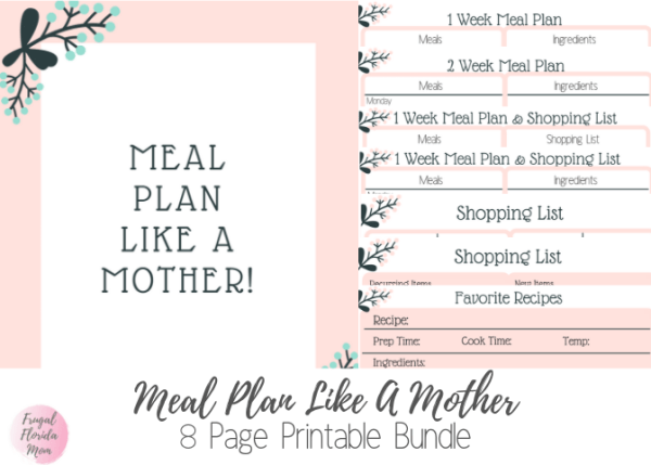 Meal Plan Like A Mother! 8-Page Printable Bundle